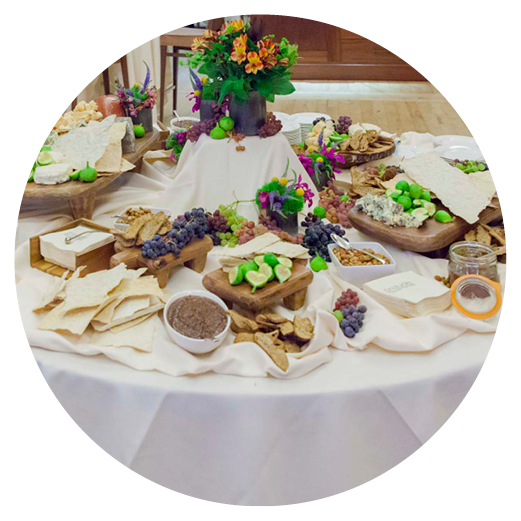 Catering spread of appetizers