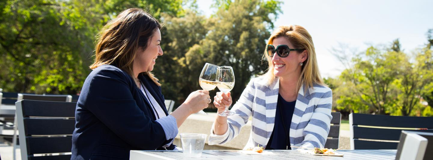 Two people cheers with wine glasses